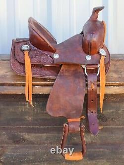 10 High Back Kid Children Floral Brown Leather Mini Pony Western Saddle