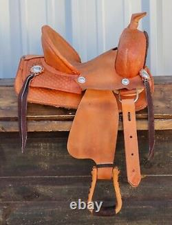 10 Used Western Cowboy High Back Kids Children Tan Leather Mini Pony Saddle
