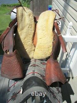 12'' vintage western leather tooled Pony saddle youth kids