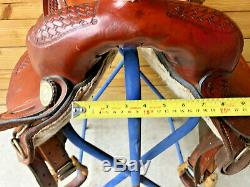 14 1/2 Western Saddle w Basketweave Tooling and Rawhide Laced Cantle