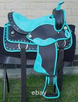14 15 16 Western Barrel Racing Trail Synthetic Saddle Horse Tack Set Pad Used