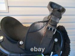 14'' Black Abetta Western trail saddle Regular QH BARS youth small adult