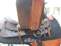 14'' VINTAGE Brown Leather western TRAIL SADDLE QH BARS