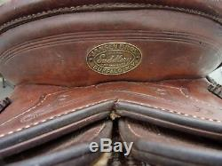 14'' VINTAGE JANSEN BROTHERS Brown Leather western SLICK SEAT SADDLE SQH BAR