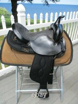 15'' #101 Black Big horn Leather & Cordura western barrel trail saddle QH BARS