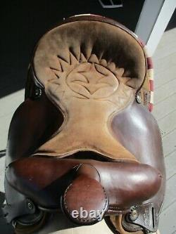 15'' #102 brown Big horn Leather & Cordura western barrel trail saddle QH BARS