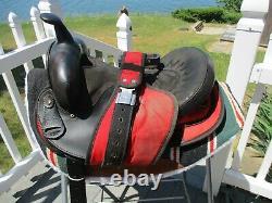 15'' #131 Red & black Big horn Leather & Cordura western barrel trail saddle SQH