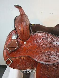 15 16 Used Barrel Saddle Pleasure Horse Racing Tooled Leather Western Tack Set