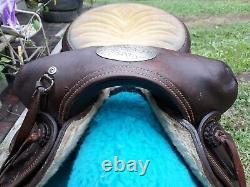 15.5 HEREFORD Brand HORNLESS WESTERN SADDLE Vintage Rare Custom Special Order