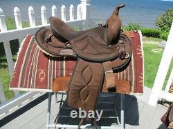 15'' #500 brown Big horn Suede & Cordura western barrel trail saddle QH BARS