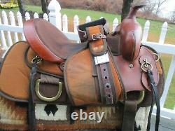 15'' #7924 C FABTRON Brown Leather/Cordura western trail saddle SQH BARS BRASS