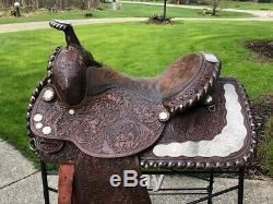 15 CIRCLE Y Vintage Dark Oil Western Show Saddle Loaded w Silver