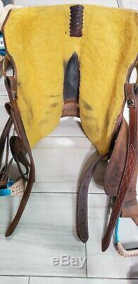 15 Corriente Barrel Saddle Western Horse Tack Strip Down Leather Tooled Rough