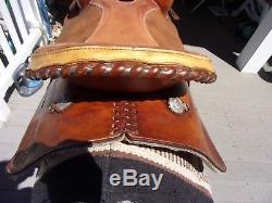 15'' DR J western barrel saddle ROUGH OUT Leather FQHB