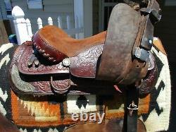 15'' Diamond L Lookout Saddle CO. Western tooled barrel trail saddle FQHB