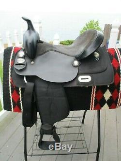 15'' KS415 KING SERIES KRYPTON Black western Trail saddle LEATHER & CORDURA FQHB