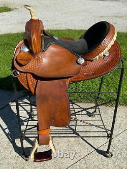 15 ROCKING R Western Barrel Horse Saddle Basket Tooled
