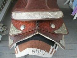 15'' Silver Trimmed Floral tooled Leather Western Show Saddle FQH BARS