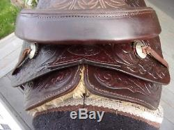15'' Vintage Circle Y Cow Country Western Tooled Roper Trail Saddle Qh Bars