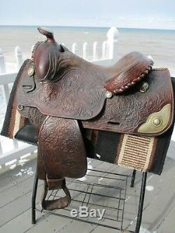 15'' Vintage Hereford Tex Tan Equitation Western Tooled Arabian Show Saddle