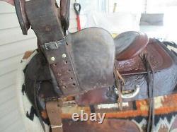 15'' Vintage Western Tooled Roper Ranch Saddle Fqh Bars 30lbs