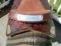 15'' Vntg Textan Brahma Brand Western Tooled Trail Saddle Qh Bars