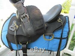 15'' WIDE BLACK ABETTA DELUXE TRAIL Western Saddle FQH bars w BRASS RINGS 20551