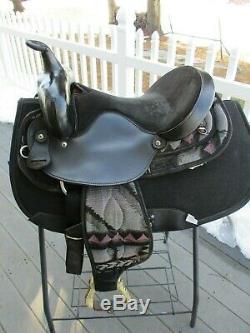 15'' black aztec big horn #187 western barrel trail saddle Cordura & Leather QHB