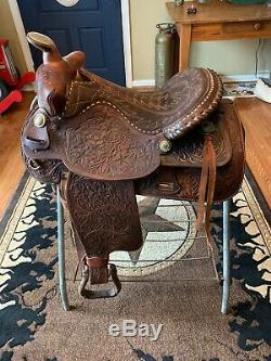15Equitation Western Pleasure saddle Tooling Silver