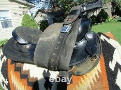 16'' #105 Big horn Black Leather/Cordura western barrel trail saddle QH BARS