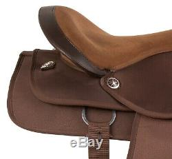 16 17 18 in BROWN WESTERN PLEASURE TRAIL HORSE SYNTHETIC SADDLE TACK SET USED