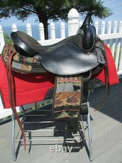 16'' #199 Black Big horn Leather & Cordura western barrel trail saddle QH BARS