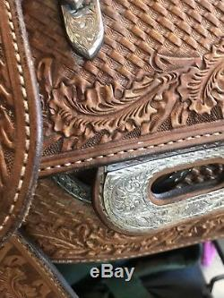 16' Blue Ribbon show saddle great used condition beautiful silver