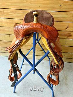 16 Johnny Ruff Custom Barrel Trail Western Horse Saddle FQHB Made in USA CL1131