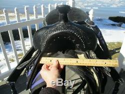 16'' KS1436 Black Purple Zebra western saddle Pad, Breast collar, cinch set FQHB