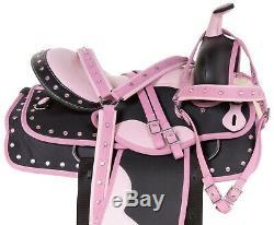 16 Pink Barrel Racing Pleasure Trail Horse Cordura Saddle Tack Set Used