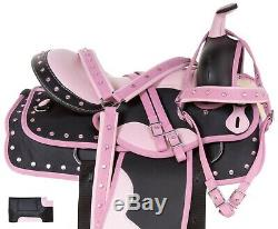 16 Pink Synthetic Western Pleasure Trail Horse Saddle Tack Set Used