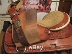 16'' Shiraz Western Tooled Saddle Pleasure Trail Or Show Qhb