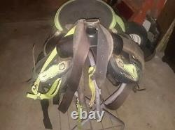 16 inches light green Synthetic seat western Saddle withstand and chest straps