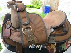 17'' #502 brown Big horn Suede & Cordura western trail saddle SQH BARS