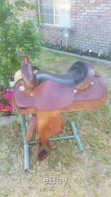 17 Circle Y Park and Trail Western Saddle Acorn Pattern Havana Brown Great Cond