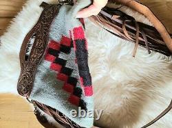American Darling Western Santa Fe Leather & Wool Fringe Crossbody Saddle Bag