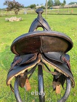 Antique F. J. Breganzer high back loop seat A fork Western saddle