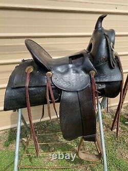 Antique R. T. Frazier high back loop seat A fork Western saddle