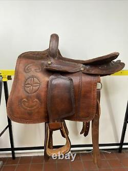 Antique Western Equestrian Side Saddle Leather Tooled Buckstitched Handmade