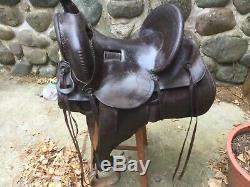Antique Western Highback saddle Frank Olzer Gillette Wyoming Westest Saddle
