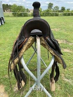 Antique/vintage 15 F. A. Meanea Western high back loop seat saddle