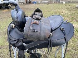 Antique /vintage/used 15.5 J. C. Higgins blk leather Western saddle withtapaderos