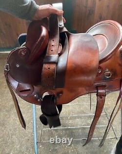 Australian Western Stock Saddle, Used, Custom, 15, Trail Saddle, Comfortable