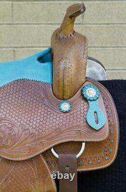 Barrel Saddle Used Western Trail Racing Blue Leather Horse Tack 14 15 16 17